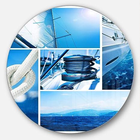 Designart Mt14261 C38 Sailing Yacht In Blue Sea Collage Seashore Disc Metal Artwork Disc Of 38 Blue 38 X 38 Home Kitchen