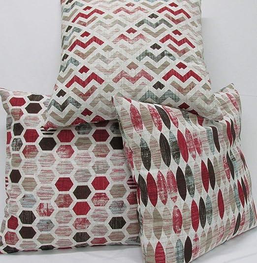 Confección Saymi Fundas cojin 3 Uds. Ref. Geometric Color Rojo 45 x 45 sin Rellenos, Tejido loneta Estampada
