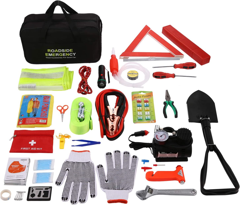 Pujuas Kit Urgence Voiture Kit Securite Voiture Kit De Secour Voiture Multifonctionnel 76 en 1 24 en 1