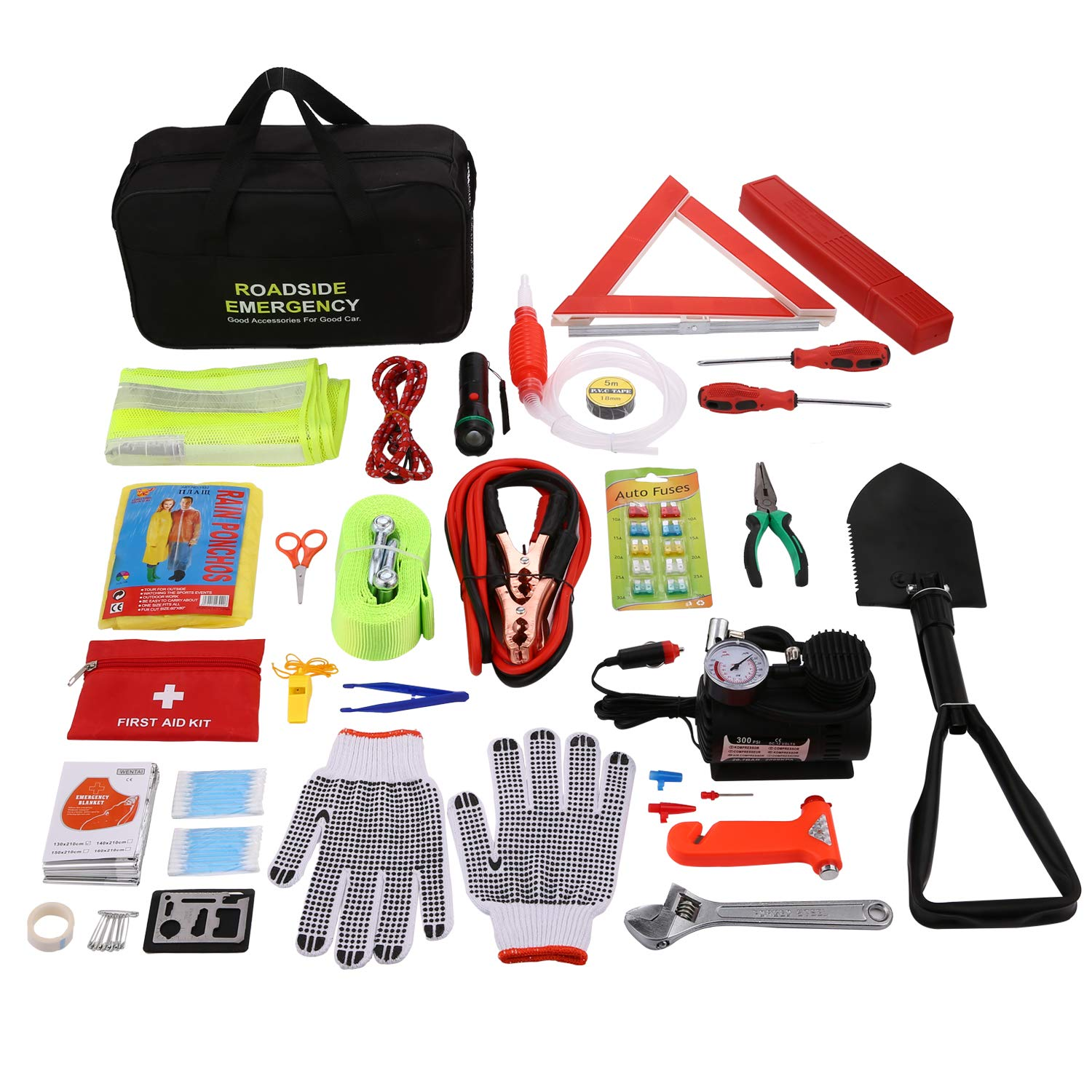 COOCHEER Auto Emergency Kit,Multifunctional Roadside Assistance 99-in-1 Car Safety Kit with Jumper Cables,Folding Military Shovel,Air Compressor,Tow Rope,Triangle,Flashlight,Tire Pressure Gauges etc.