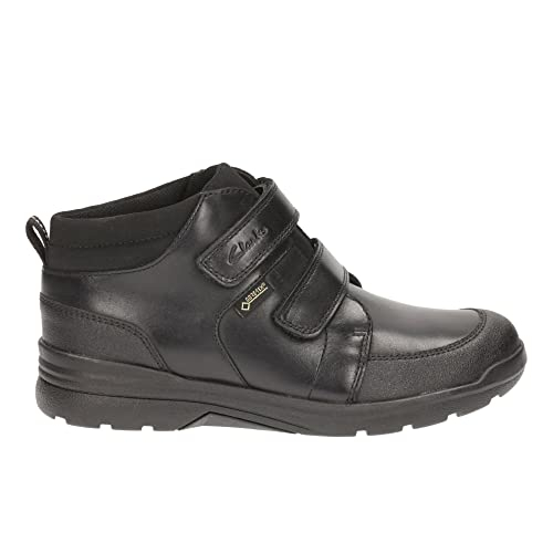 Clarks Boys Smart Ankle Boots obie Top GTX - Black Leather - UK Size 1G -
