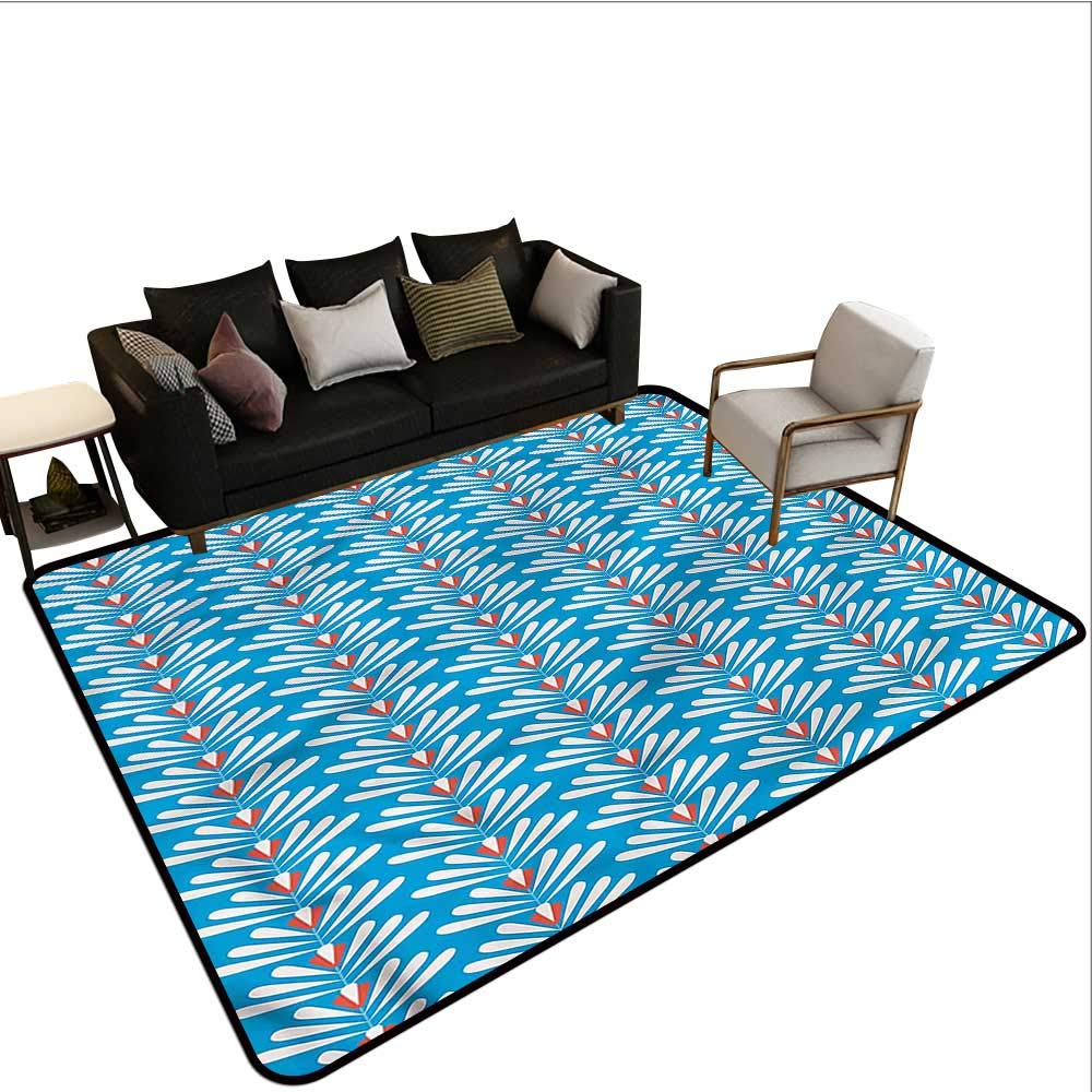 """Floral,Office Chair Floor Mat Foot Pad 60""""X 96"""" Graphic Artistic Flowers Throw Rugs"""