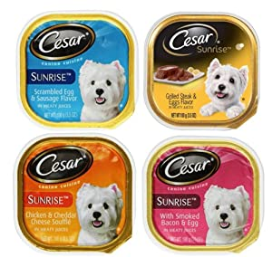 Cesar Sunrise Dog Food 4 Flavor 8 Can Bundle: (2) Scrambled Egg & Sausage, (2) Grilled Steak & Eggs, (2) Chicken & Cheddar Cheese Souffle, & (2) Smoked Bacon & Egg, 3.5 Oz. Ea.