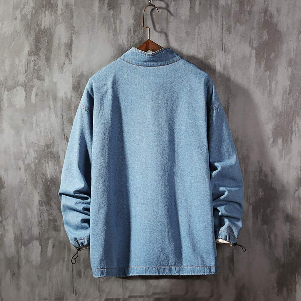 Ultramall Long Sleeve Men's Autumn Fashion Large Size Tooling Casual Jacket Denim Jacket Top Blouse by Ultramall (Image #3)