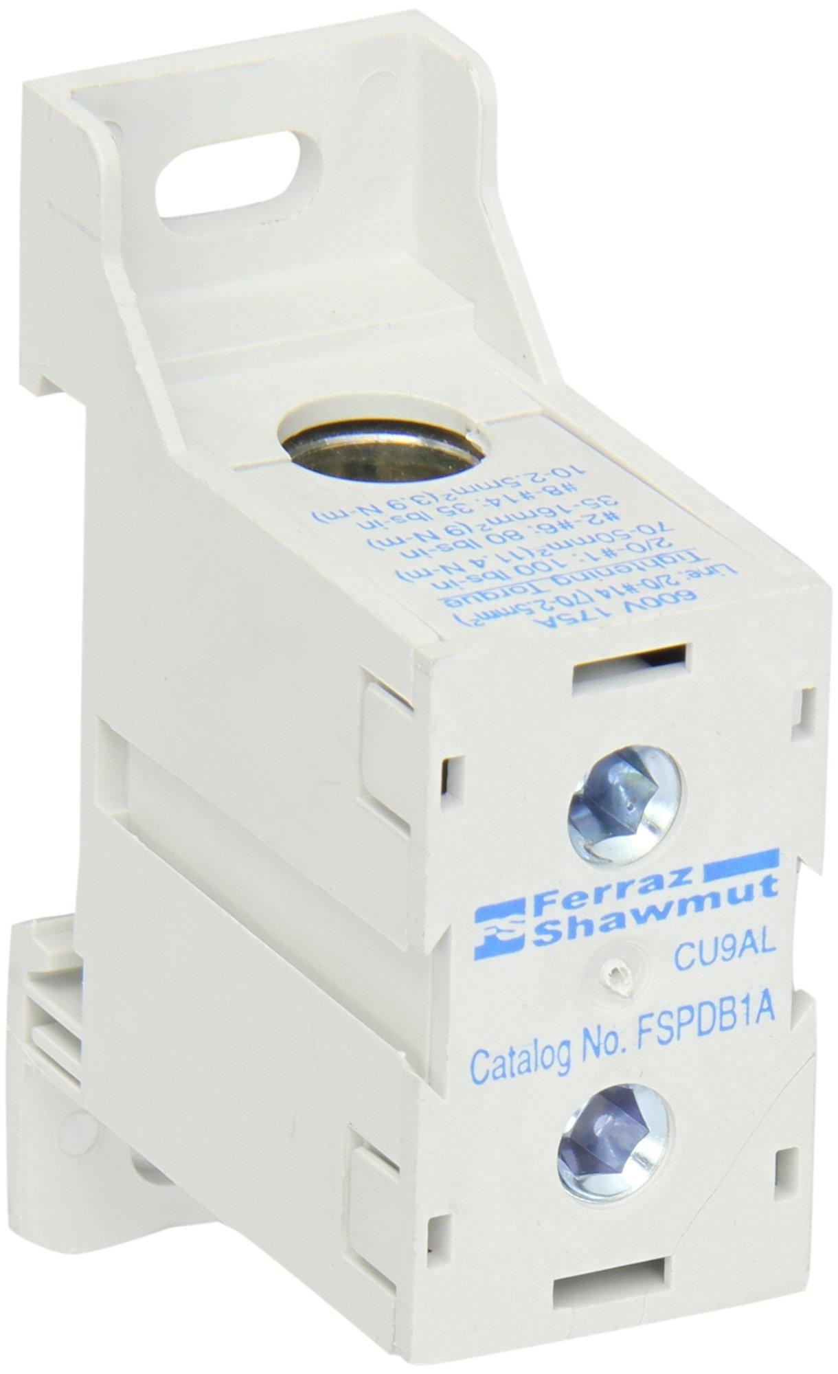 Mersen FSPDB1A Aluminum Finger-Safe Power Distribution Block, 600VAC/DC, 100kA, 175 Ampere, 2-55/64'' Length x 1'' Width x 1-61/64'' Height