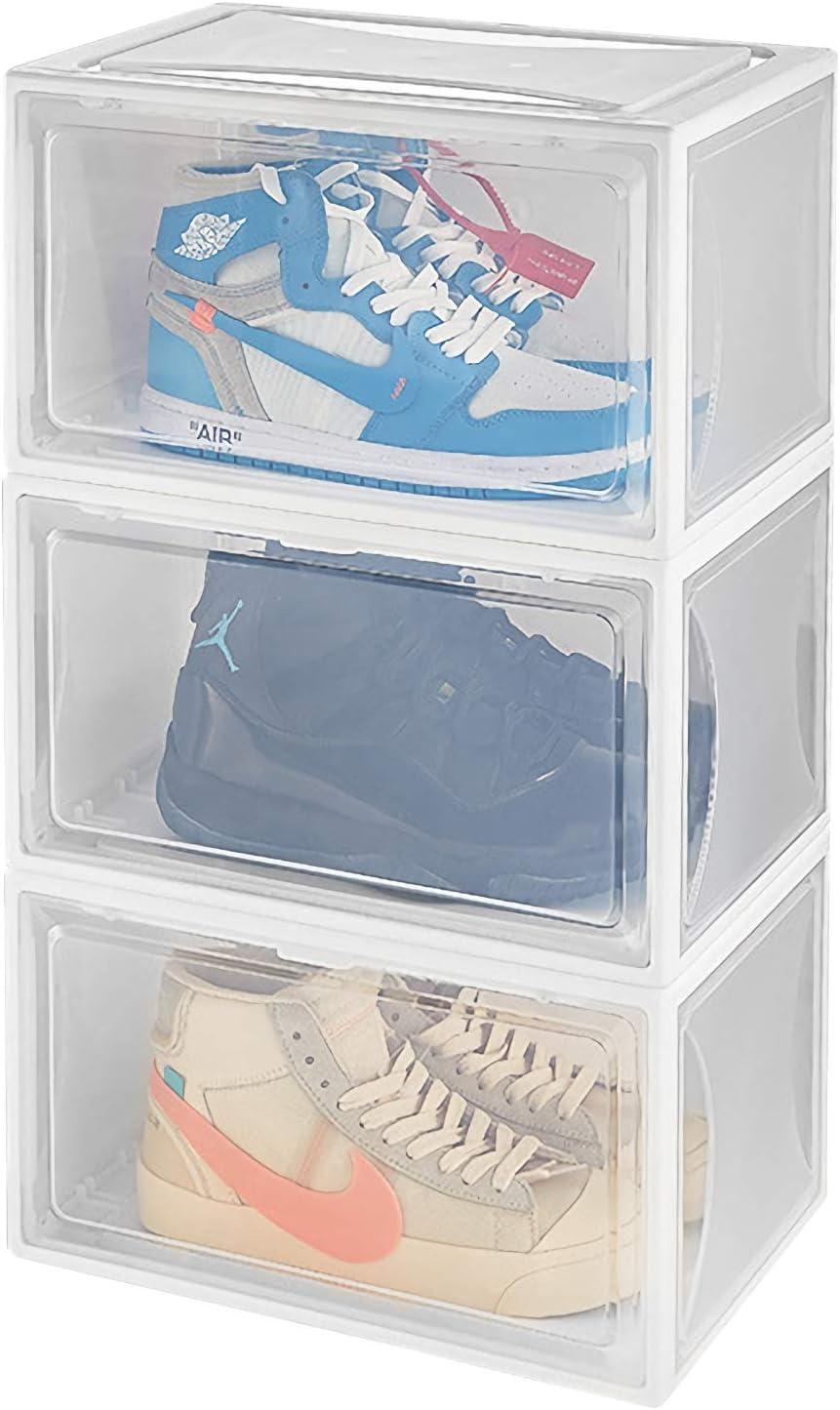 Yorbay Organizador Zapatos, Cajas Zapatos Transparentes Plástica Paquete de 3, Apilable Blanco