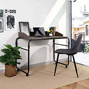 RAAMZO Multifunctional Adjustable Height Home Office Desk Computer Laptop Reading Standing Desk, Over The Bed Twin Size Table Desk with Wheels, Vintage Dark Brown/Black