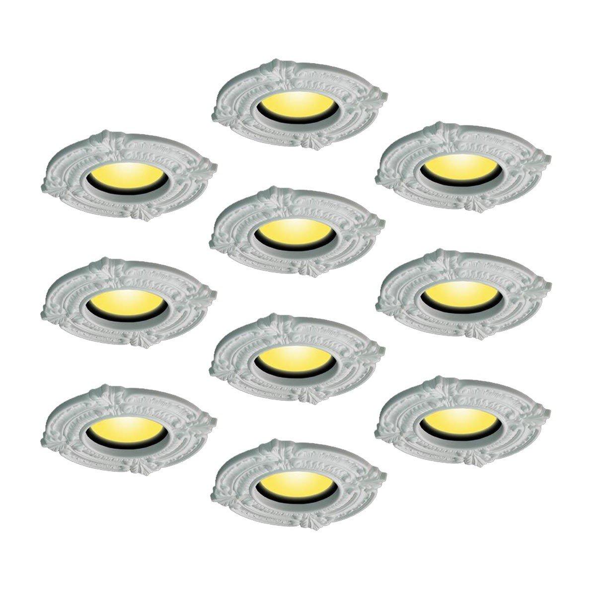 10 Spot Light Trim Medallions 6'' ID Urethane White Set Of 10 | Renovator's Supply