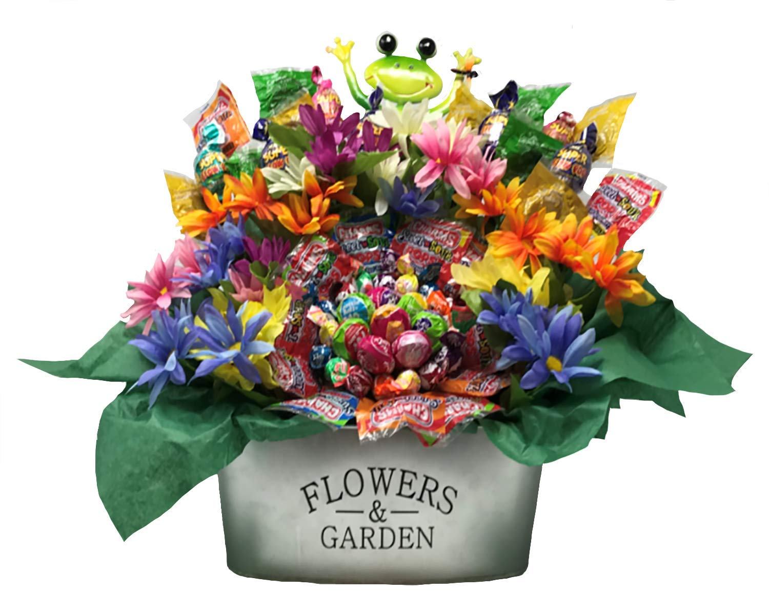 Spring Candy Bouquet with Happy Frog, Lollipops Arranged as Flowers, Daisy's and Galvanized Garden Planter.