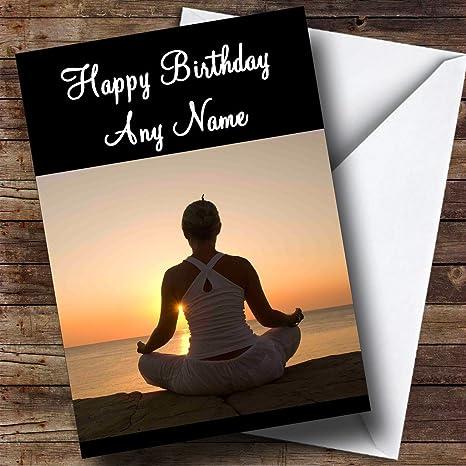 Yoga Personalizado Tarjeta De Cumpleanos Amazon Es Oficina Y Papeleria