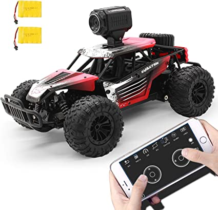 Amazon Com Gizmovine Remote Control Car With Camera High Speed Racing Off Road Rc Cars With 2 Rechargeable Batteries Waterproof Rc Monster Trucks Buggy Vehicle Electric Toy Cars For All Kids Boy Toys
