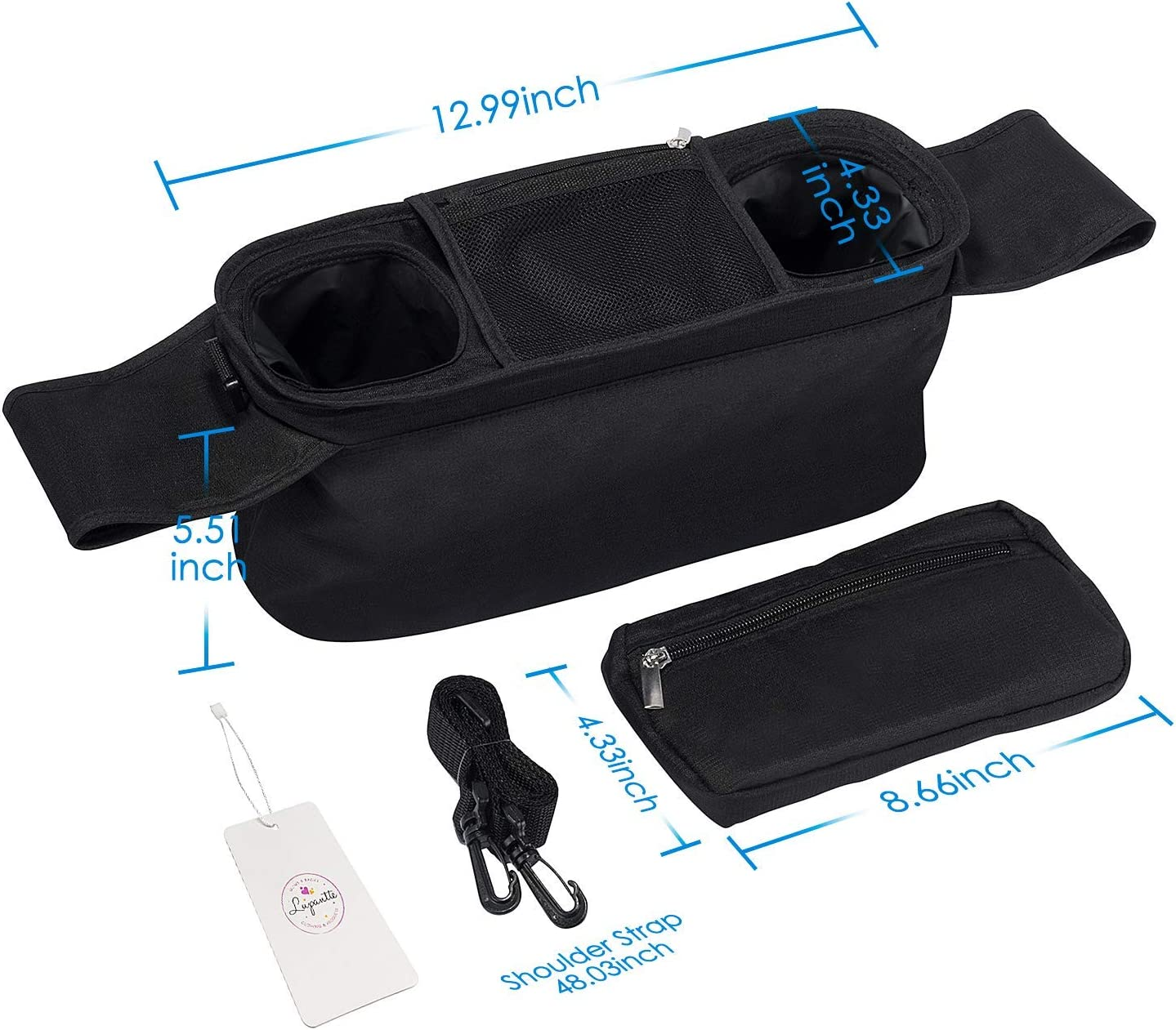 Loneflash Universal Stroller Organizer with 2 Insulated Cup Holders Phone for Carrying Diaper Toy Universal Baby Pram Buggy Organiser Pushchair Stroller Storage Bag Lupantte Stroller Accessories
