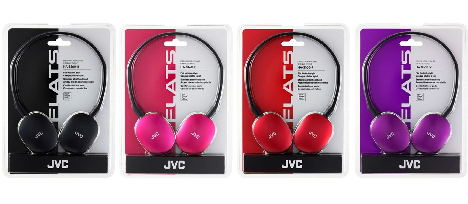 JVC Flat Headphones - Red (HAS160R) by JVC (Image #4)