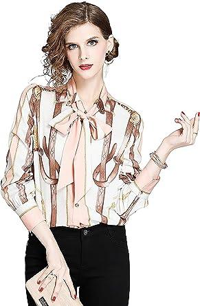 DOVWOER - Elegante blusa para mujer con lazo, manga larga, cuello alto, camisa para mujer, estampado de flores, parte superior: Amazon.es: Ropa y accesorios