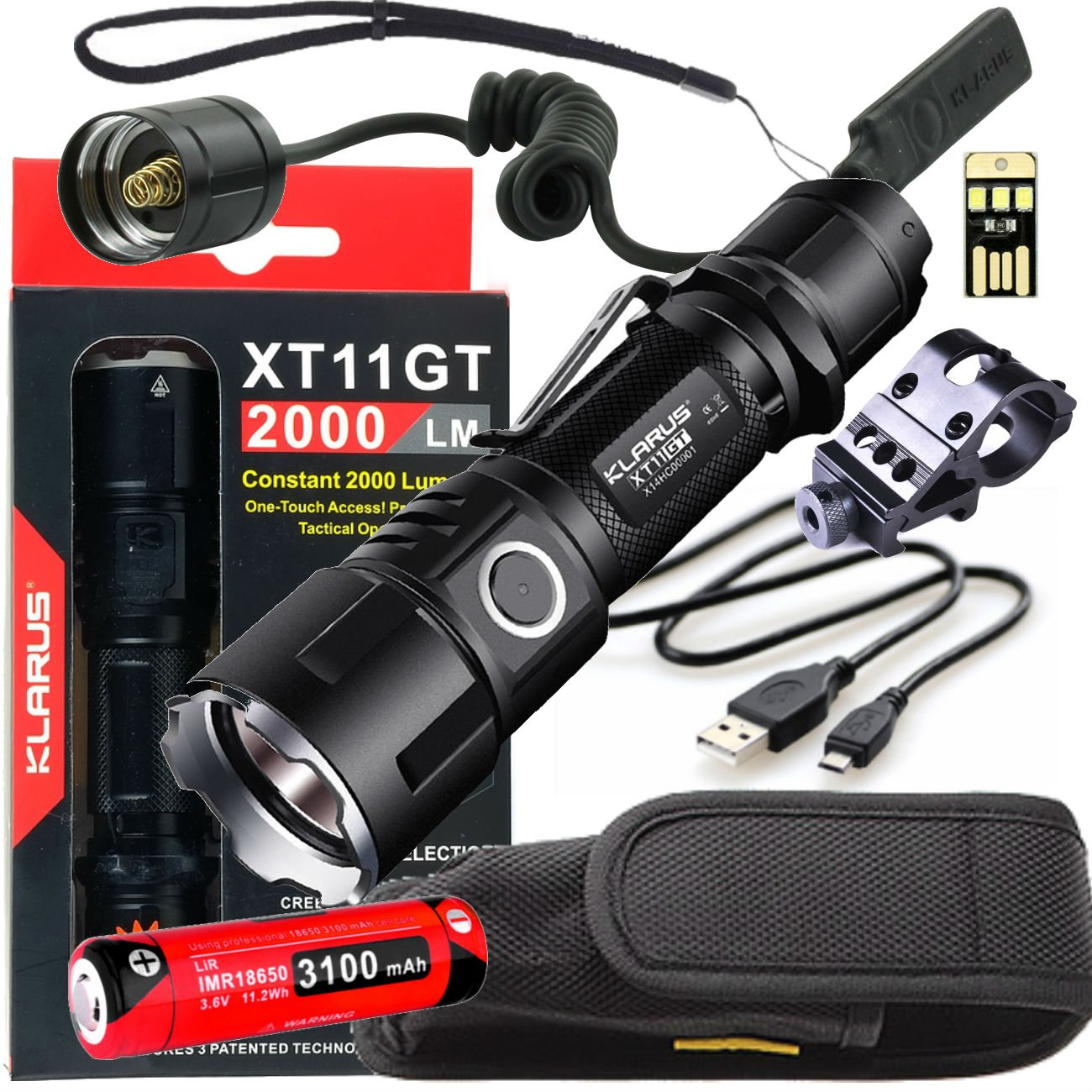 Klarus Upgraded XT11GT WEAPON BUNDLE w/ LED Tactical Rechargeable Flashlight, 18650 Battery, TRS1 Remote Pressure Switch, Offset Gun Mount, USB Cable, Lanyard, Holster, Pocket Clip, and USB Mini Light by Klarus