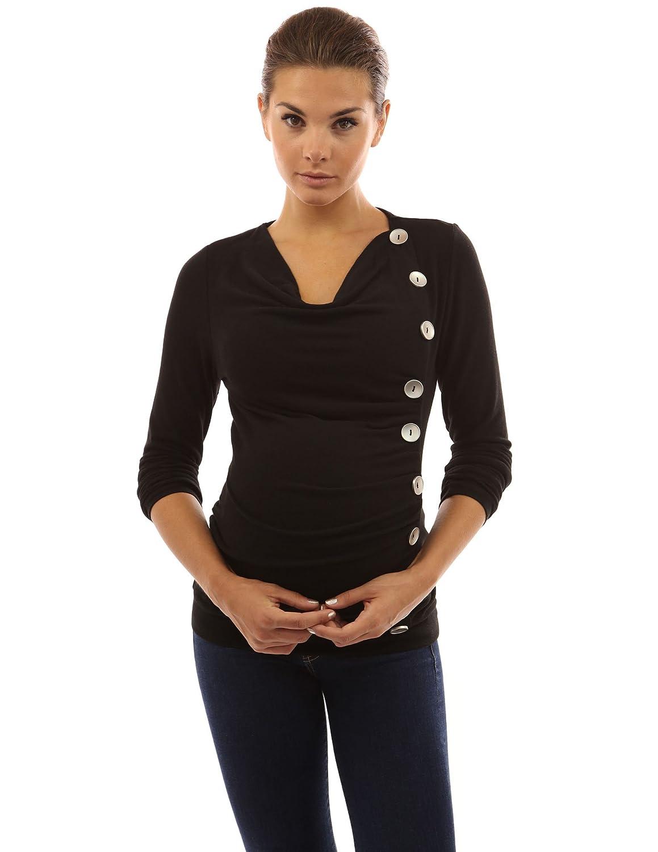 PattyBoutik Mama Cowl Neck Buttons Maternity Tunic Top