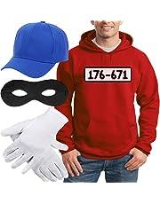 Shirtgeil Panzerknacker Banditen Kostüm Hoodie + MÜTZE + Maske + Handschuhe Kapuzenpullover Hoodie