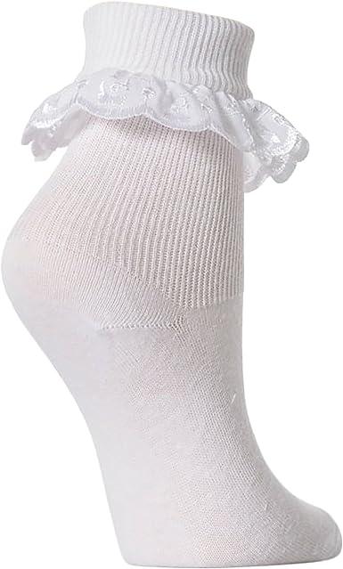 Calcetines con volante de encaje para niñas (pack de 3) (Edad: 0-6 meses/Blanco): Amazon.es: Ropa y accesorios