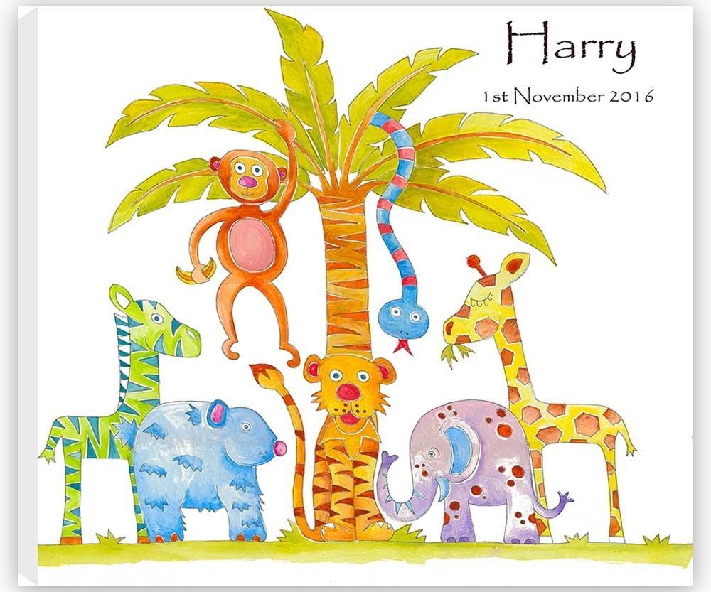 tigerlilyprints Name Canvas, Jungle Fun Canvas, Personalised Canvas, Christening Gift,Baby Gift. tigerlilyprints ltd