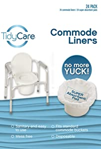 TidyCare Commode Liners – Convenience Pack XL - Bedside Commode Liners - 24 Commode Liners and 24 Super-Absorbent Pads - Adult Commode Chair - Commode Pail Liners - Universal fit
