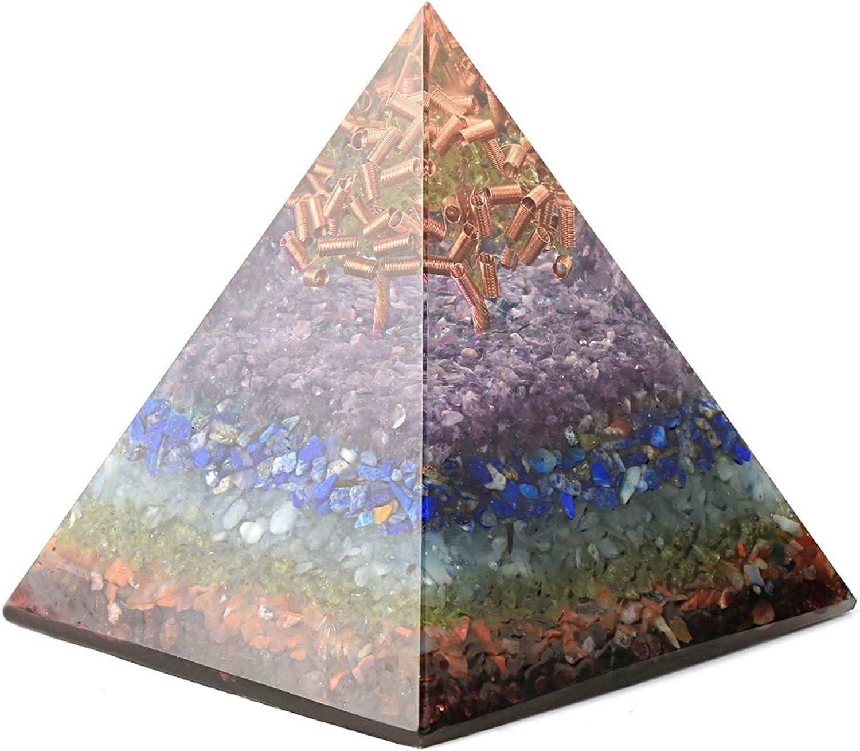 CRFYJ 10 cm Pirámide Grande convertidor de energía de Grava Natural de Cobre de Cobre Resina artesanía Decorativa Oficina de la Oficina Reiki decoración