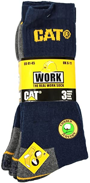 3 pares Caterpillar trabajo Medias Calcetines Calcetines Azul 41 – 45/46 – 50 for