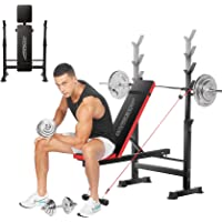 OppsDecor Folding Weight Bench with Barbell Rack (Red)