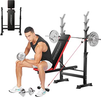 OppsDecor Folding Weight Bench with Barbell Rack