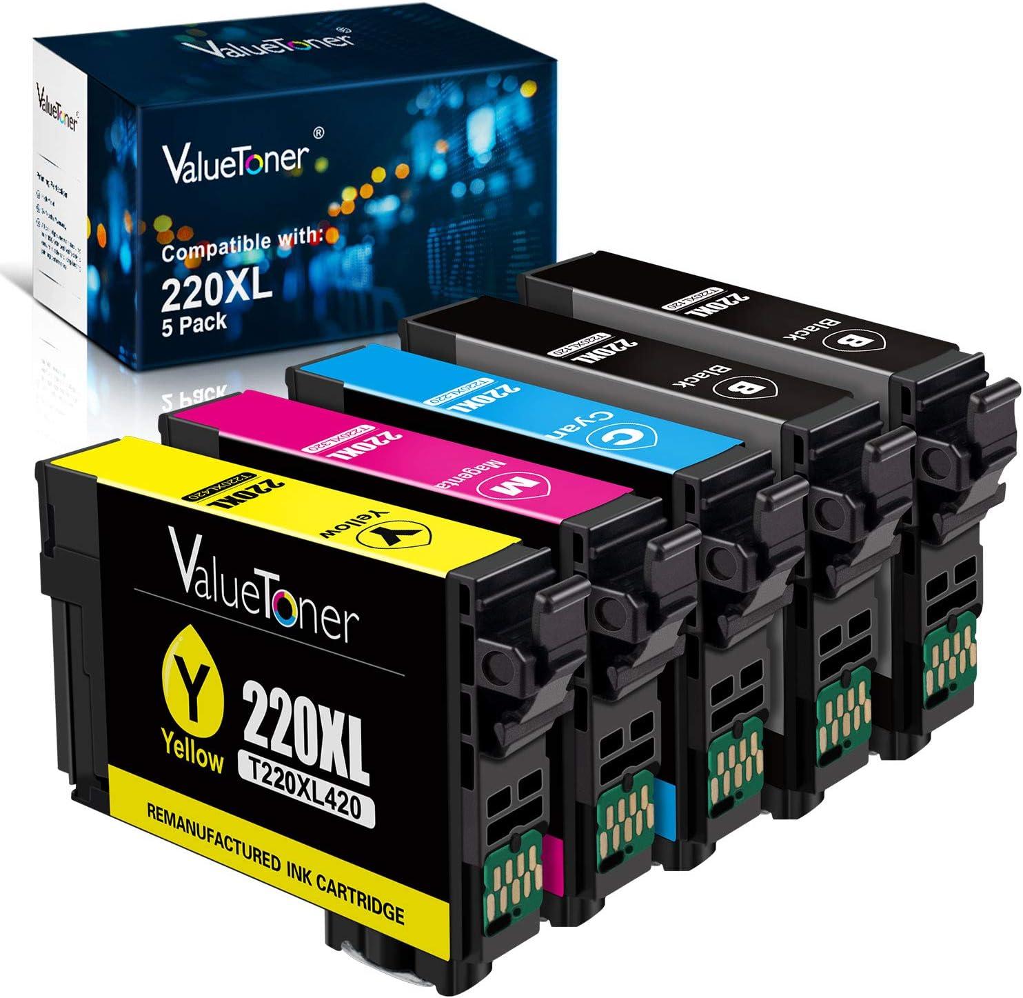 Valuetoner Remanufactured Ink Cartridge Replacement for Epson 220 220XL T220XL for Workforce WF-2760,WF-2750,WF-2630, WF-2650, WF-2660,XP-320,XP-420,XP-424 (2 Black,1 Cyan,1 Magenta,1 Yellow, 5 Pack)