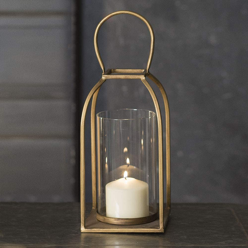 Amazon Com Attractive And Graceful Large Tribeca Gold Antique Brass Metal Lantern Candle Holder With Clear Glass Rustic Indoor Outdoor Light For Your Home Decor Modern Rustic Vintage Farmhouse Style