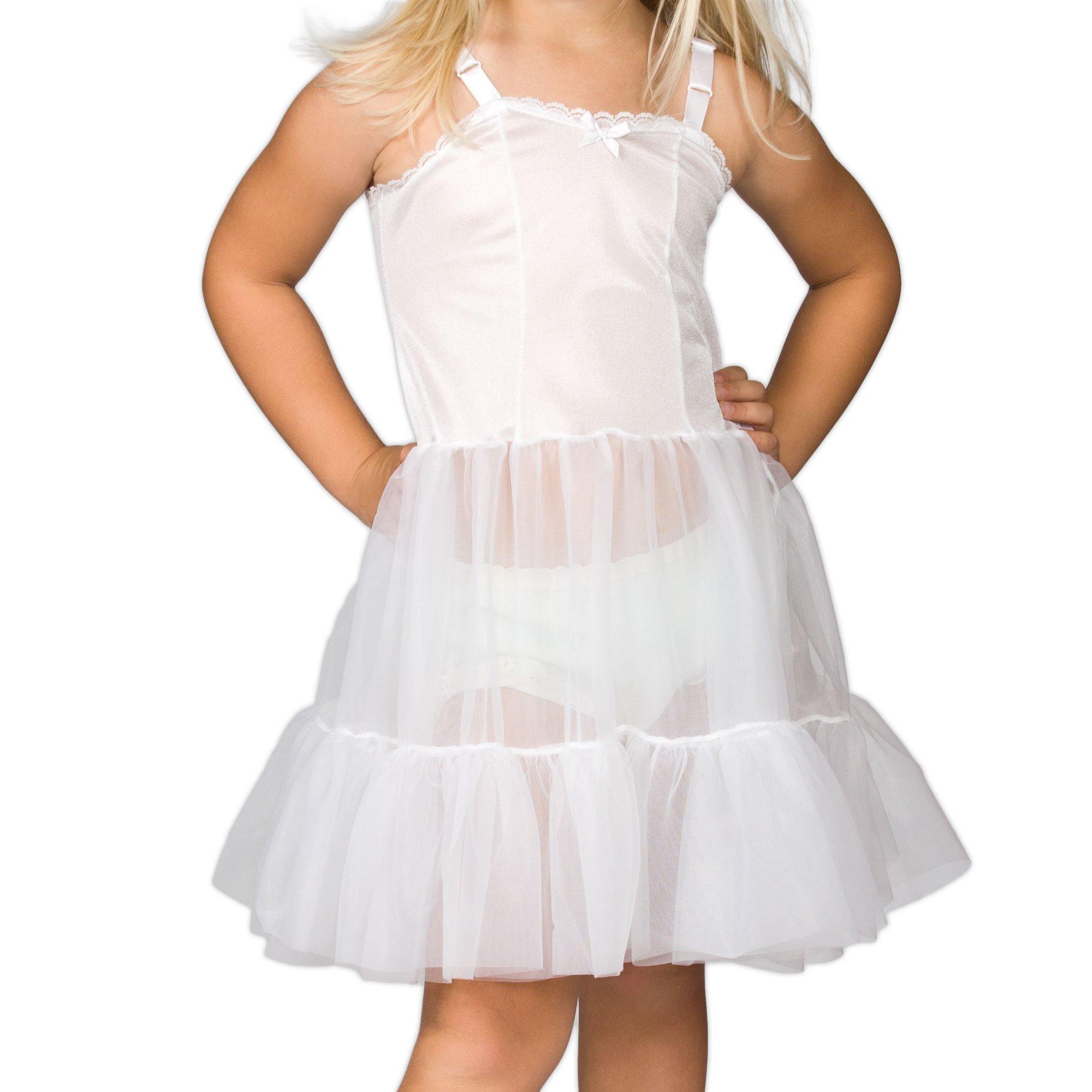 I.C. Collections Little Girls White Bouffant Sweetheart Slip, 5