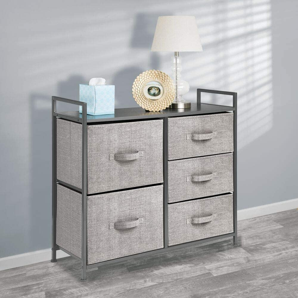 5 Drawers Textured Print Wood Top Hallway Black//Graphite Gray Closets Organizer Unit for Bedroom Sturdy Steel Frame mDesign Tall Dresser Storage Tower Easy Pull Fabric Bins Entryway