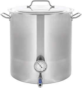 CONCORD Stainless Steel Home Brew Kettle Stock Pot (Weldless Fittings) (40 QT/ 10 Gal)