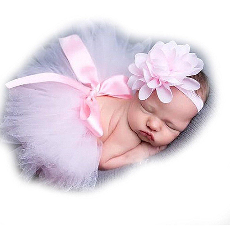 ZILucky Newborn Shooting Accessoire Outfits Baby Prinzessin Kostüm Tütü Rock Pettiskirt Mädchen Blumen Stirnband
