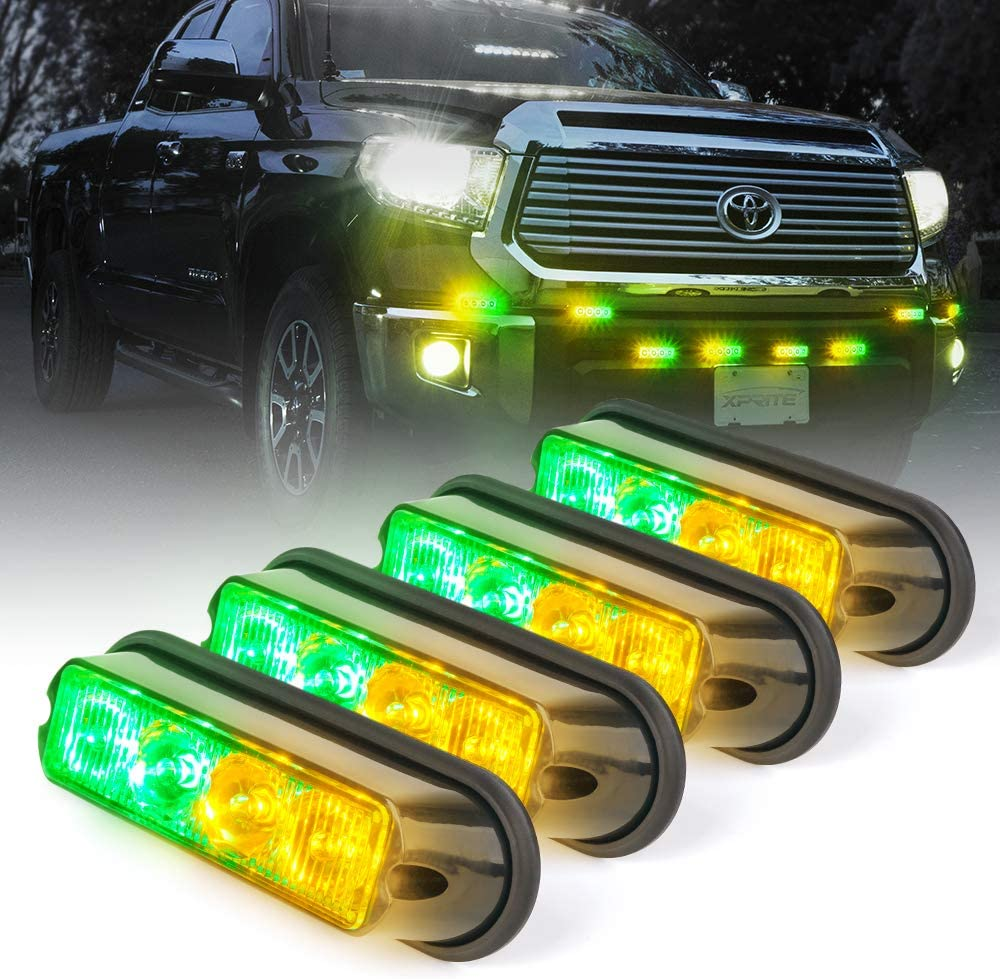 Xprite Amber Yellow & Green 4 LED 4 Watt Emergency Vehicle Waterproof Surface Mount Deck Dash Grille Strobe Light Warning Police Light Head with Clear Lens - 4 Pack