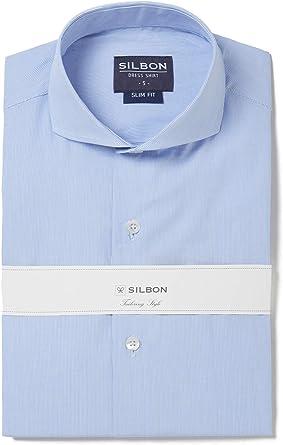 SILBON - Camisa Vestir rayitas puño Simple para Hombre ...