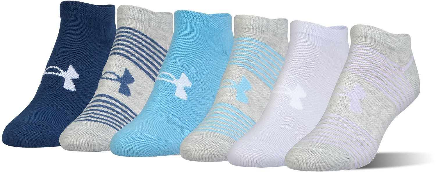 Under Armour Women's Essential Mixed Twist No-show Athletic Socks (6 Pack), Lavender/Asst, Medium by Under Armour