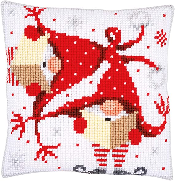 VERVACO Quickpoint Cross Stitch PILLOW Cushion Kit SNOW FUN