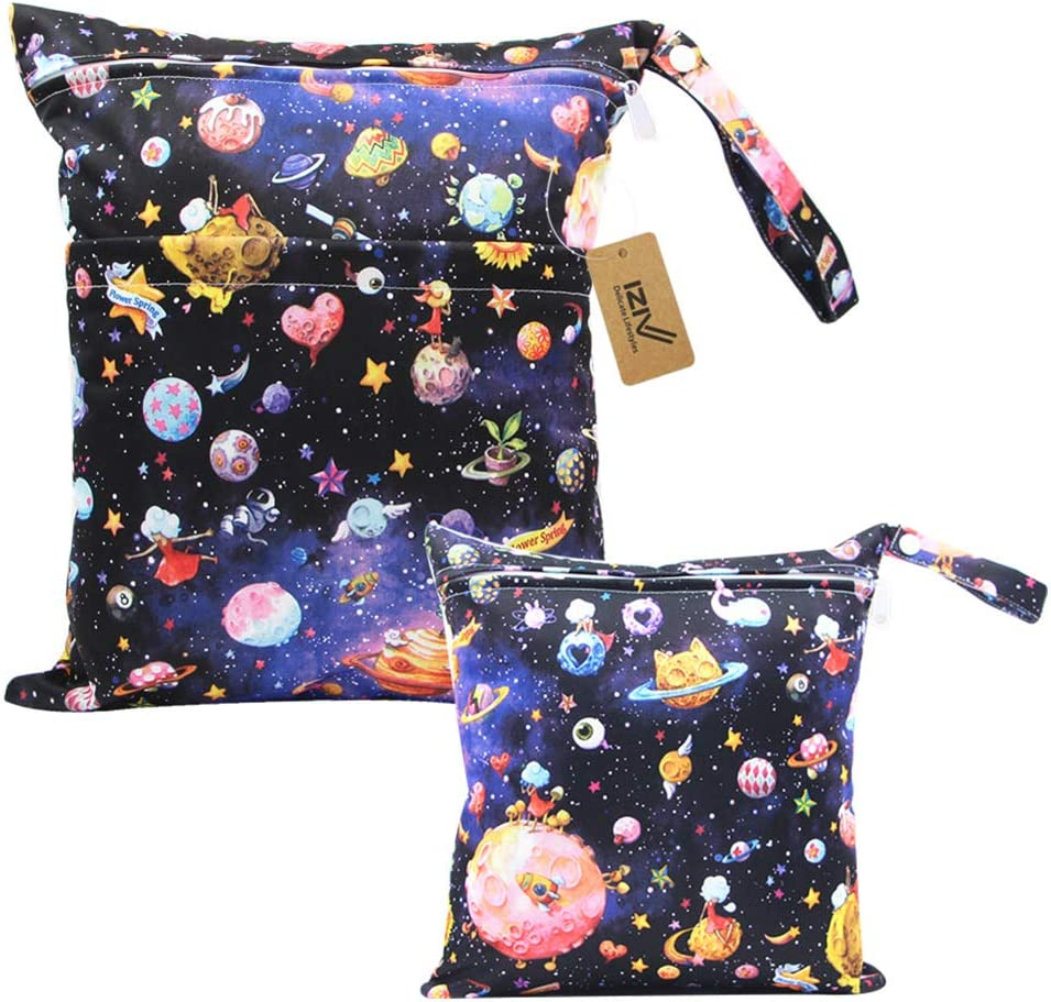 iZiv Baby Waterproof Reusable Wet Dry Bag Waterproof Washable Hanging Large Diaper Bag Organizer Pouch Double Zipper Printing Diaper Bag Reusable Wet Suit Bag Nappy Bag