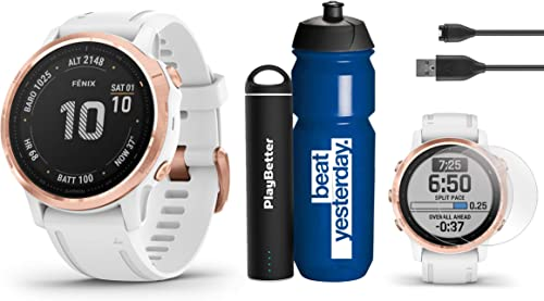 Garmin Fenix 6S Pro Rose Gold with White Band Premium Gift Set Bundle with Garmin Water Bottle, HD Screen Protectors PlayBetter Portable Charger PulseOx, PacePro, Maps, Spotify Music