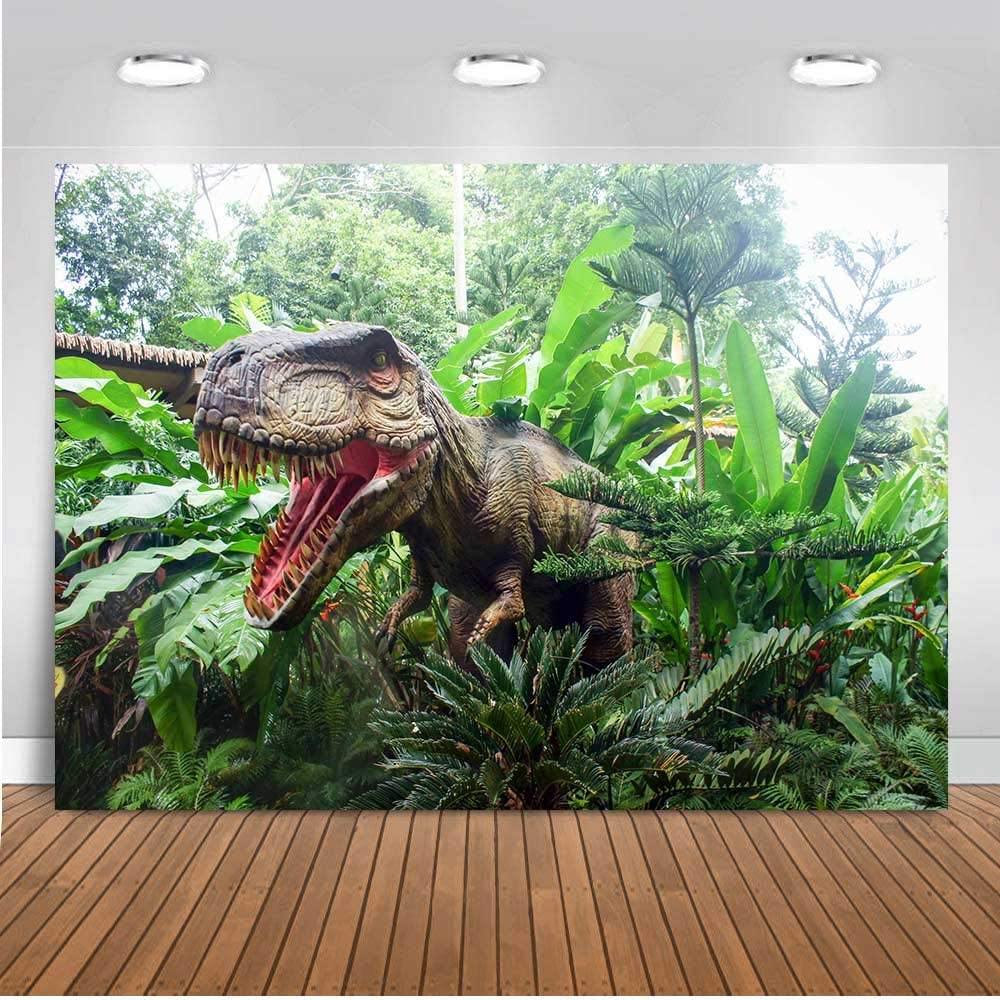 Cartoon Dinosaur Map Photography Background Safari Jungle Theme Birthday Party Background Tropical Cartoon Dinosaur Map Cake Table Decoration