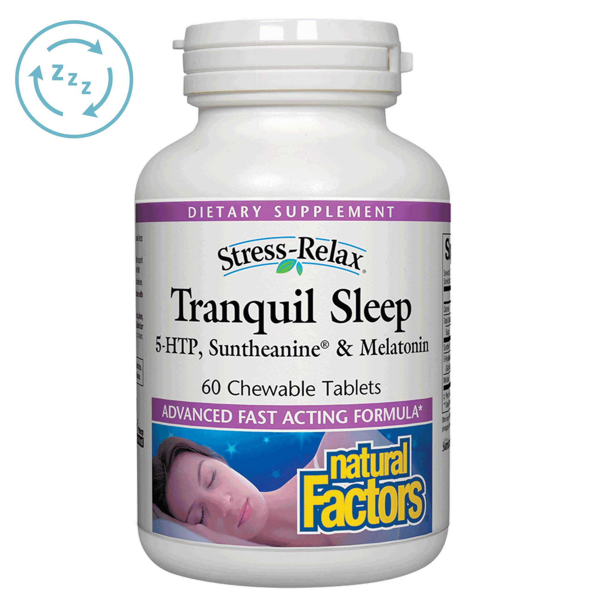Stress-Relax Chewable Tranquil Sleep by Natural Factors, Sleep Aid with Suntheanine L-Theanine, 5-HTP, Melatonin, Tropical Fruit Flavor, 60 Tablets (30 Servings) by Natural Factors
