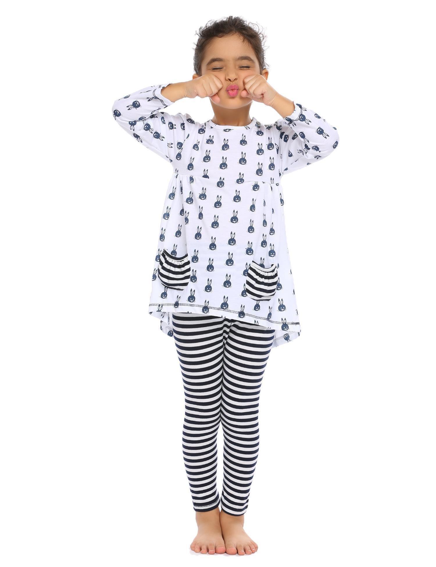 Balasha Girls Outfits Bunny Print 2PC Clothes Sets Top Leggings Sets Pockets