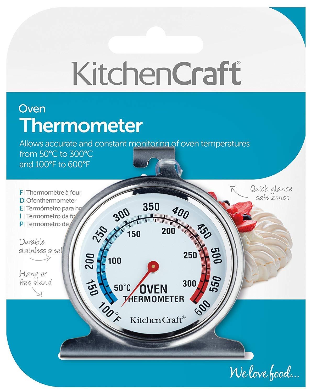 Kitchencraft Termómetro para horno 50ºC a 300ºC, Acero, Plateado, 4.3x6.6x8