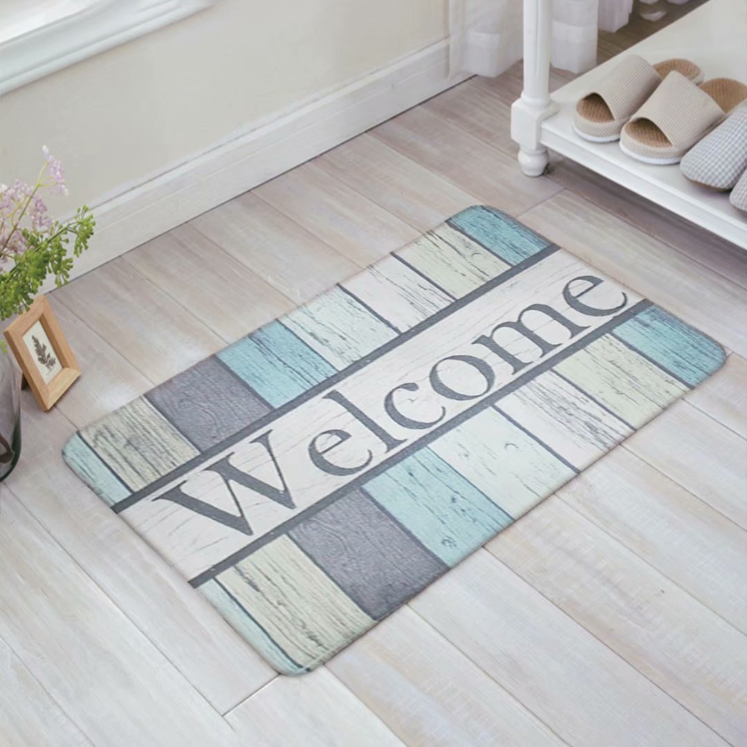 Decor Love 3D Printing Non-slip Doormats Mud Dirt Trapper Mats Entrance Rug Shoes Scraper Floor Indoor/Outdoor/Kitchen/Garden/Patio(Welcome Rustic Wood) 16 x 24inch