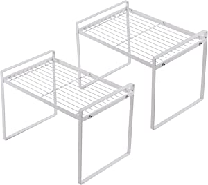 Shantton 2 Pack Kitchen Cabinet Shelf Counter Organizer Rack Pantry Storage Bathroom Bedroom Office Table Desk Space Saving Steel Frame Stackable Rust Resistant Non Slip White – Tall