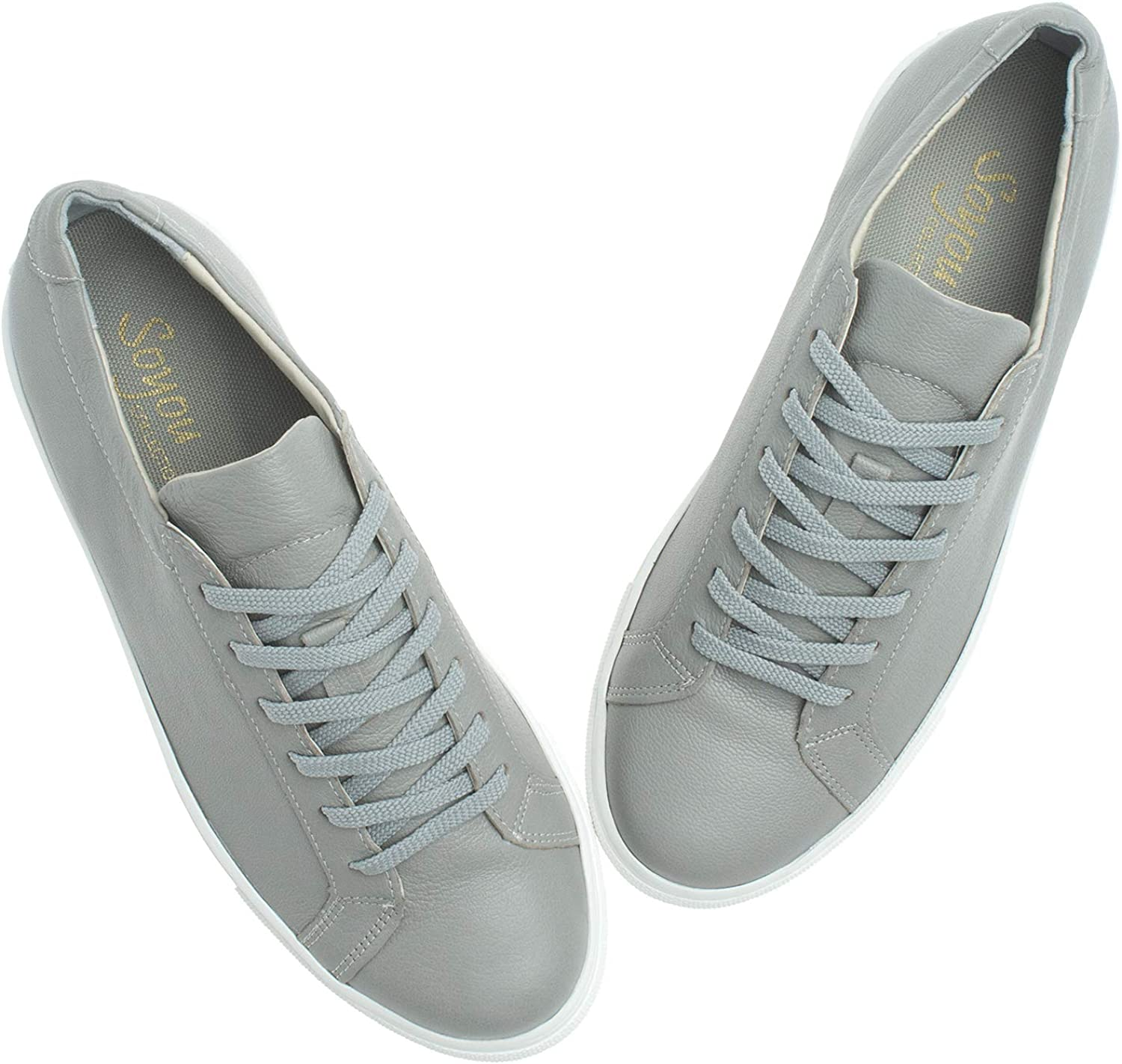 AnnaKastle Womens Fashion Leather Sneaker Lace Up Low Top Casual Trainer