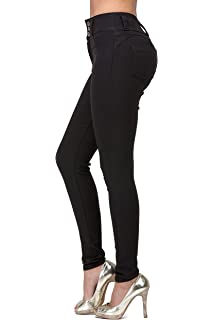 L.B FASHION High Waisted Jeans for Women Stretch Skinny Colored Long Pants  Plus Size Black White f7eac53ef9