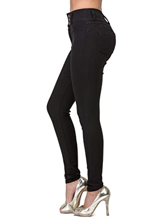 ce90882511b L.B FASHION High Rise-Waisted Juniors Ladies Colored Super Stretchy Butt  Lift Skinny Jeans Elastic