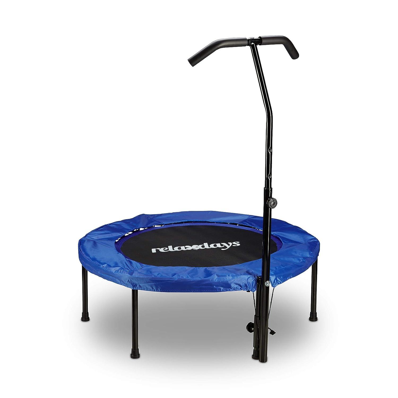 Relaxdays Trampolin mit Haltegriff faltbar Indoor Fitness HBT: 126 x 102 x 107 cm Maximalbelastung: 100kg blau-schwarz